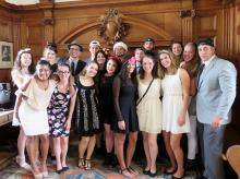 The Class of 2017 Honors Program Students at Fascinator Night at Oxford University. Theresa McKenna is pictured first-row, second from the left. Courtney Gray is pictured in the first-row, third from the right.