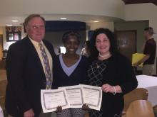 Dr. Kirk Manning, Doris Orsei and Professor Winship at the Students Leadership Awards Leader