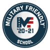 Military Friendly red, white, and blue badge; circle with MF '20-21 School text in center