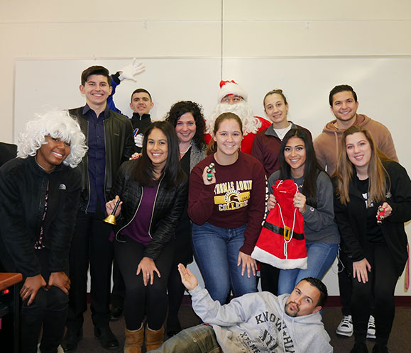 Professor Winship's Communication Arts class prepares for Santa Fest.